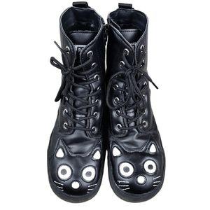 T.U.K Black Cat Lace Up Combat Boots 8